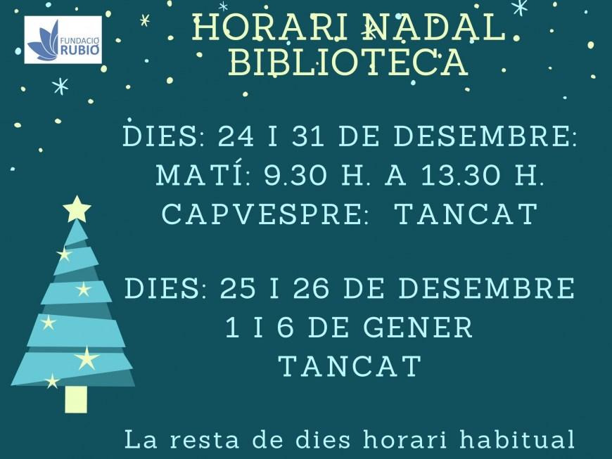 Horario Navidad Biblioteca Rubió